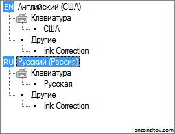 Языки с службы текстового ввода: два языка